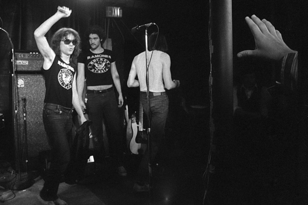 Tommy Ramone exits stage left at Toad's Place, New Haven, Connecticut, January 5, 1978. / Photo by Tom Hearn