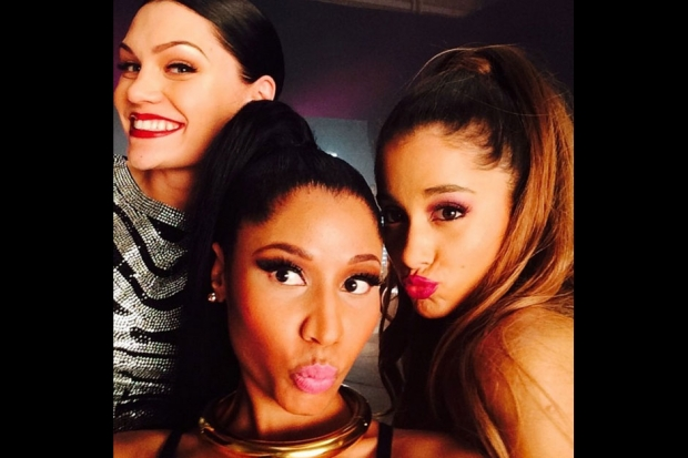 "Jessie, Nicki and Ariana on the set of the ""Bang Bang"" video. / Photo by instagram.com/nickiminaj"