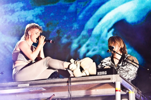 Robyn and Röyksopp at Pier 97 in New York City, August 20, 2014 / Photo by Jolie Ruben for SPIN