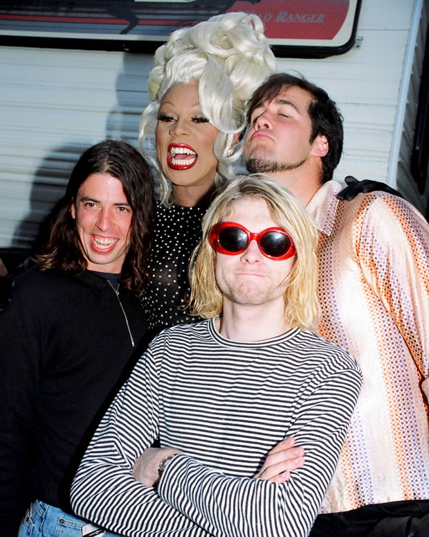 RuPaul with Nirvana at the 1993 MTV Video Music Awards / Photo by Jeff Kravtiz/FilmMagic, Inc.