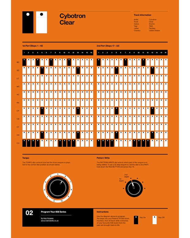"A poster of the 808 patterns for ""Clear"" created by Rob Ricketts"