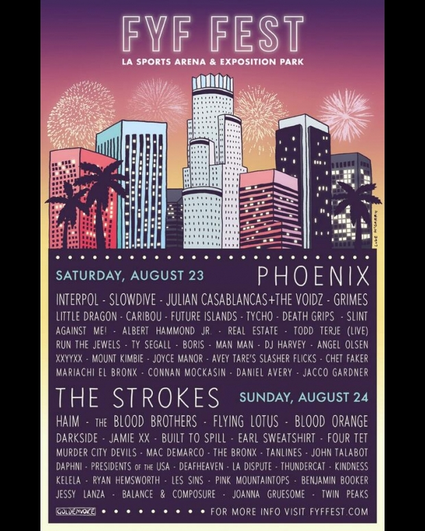 FYF Fest 2014 Lineup Death Grips Blood Brothers Strokes Interpol