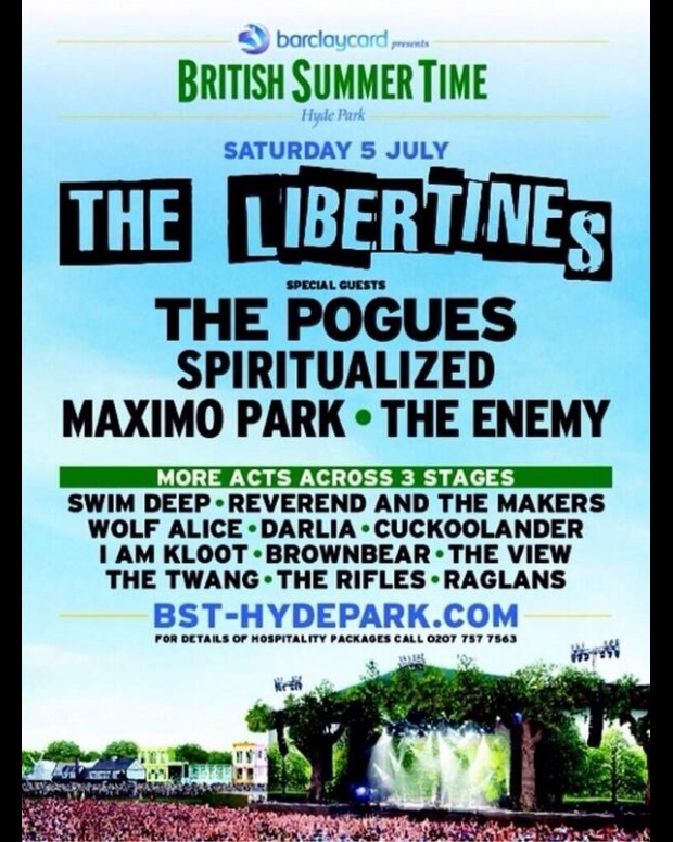 Libertines reunion Spiritualized Pogues hyde park