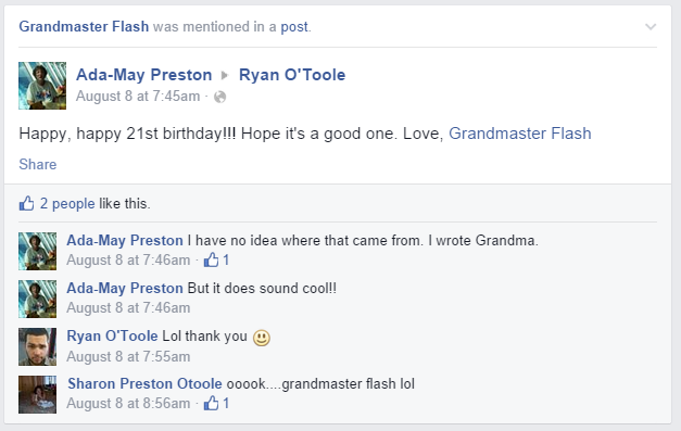 Grandma Grandmaster Flash Facebook Tag Accidental Tagging